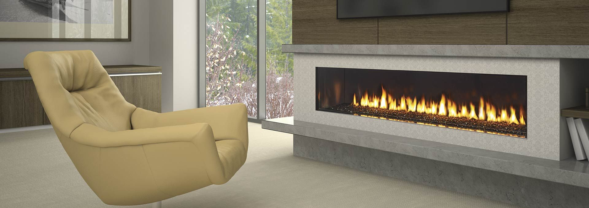 Simple Clean Wide Gas Fireplace With Not Too Deep Concrete Look