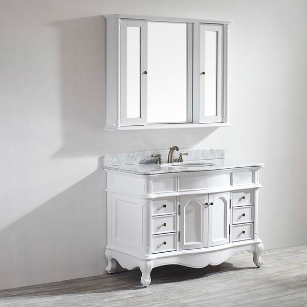 Vinnova Messina 48 Inch Single Vanity In White With Carrara Marble Top