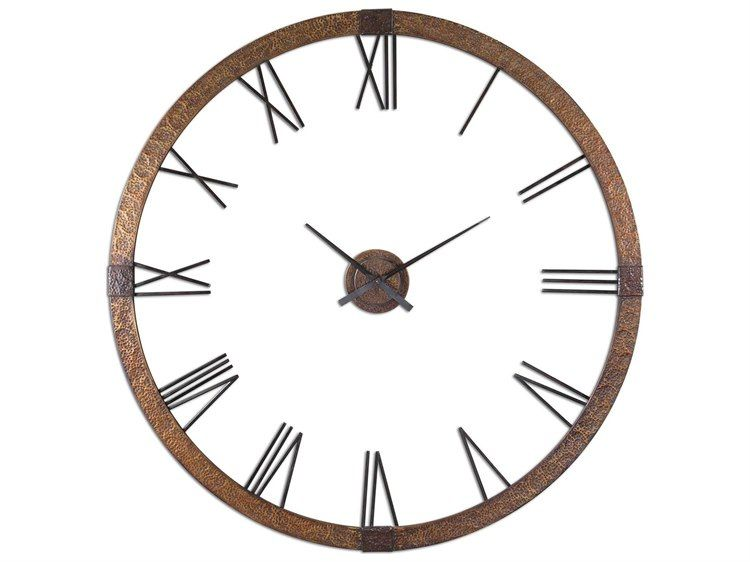 Uttermost Amarion 60 Inch Copper Wall Clock Wall Clock Copper Wall Round Wall Clocks