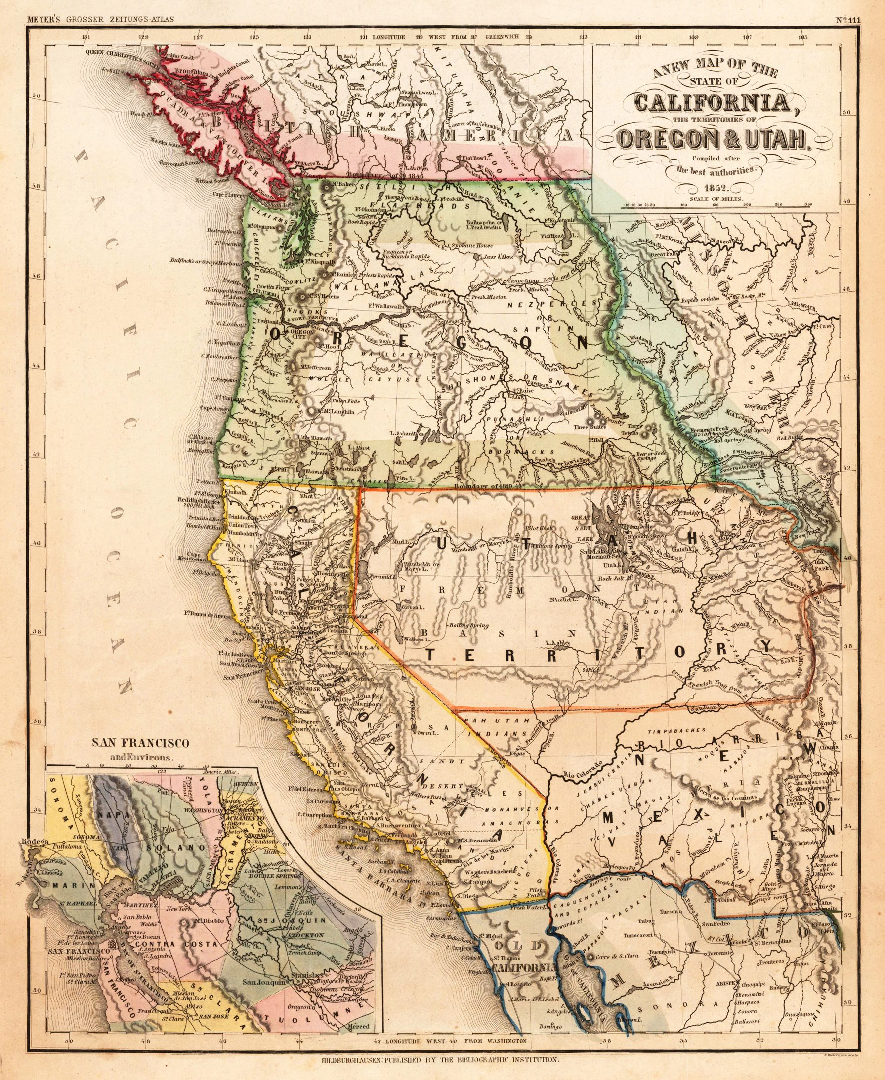 California, Oregon & Utah 1852