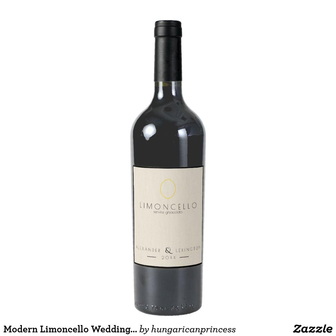 Modern Limoncello Wedding Favor Bottle Label | | Limoncello ...
