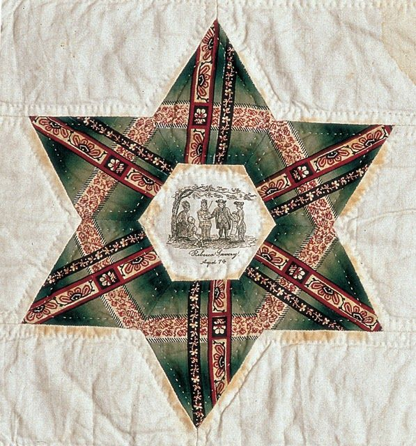 "This quilt named ""Slavery Friendship Quilt"" measures 80"" X 83 1/4"", is dated 1844, and was made in Philadelphia by Elizabeth Hooten (Cresson) Savery and others.    Fifty different names appear on the quilt.  Most of those whose names appear have been traced to central Philadelphia and Chester County, Pennsylvania. The area continues to celebrate its heroism in the underground railroad: http://undergroundrr.kennett.net/"