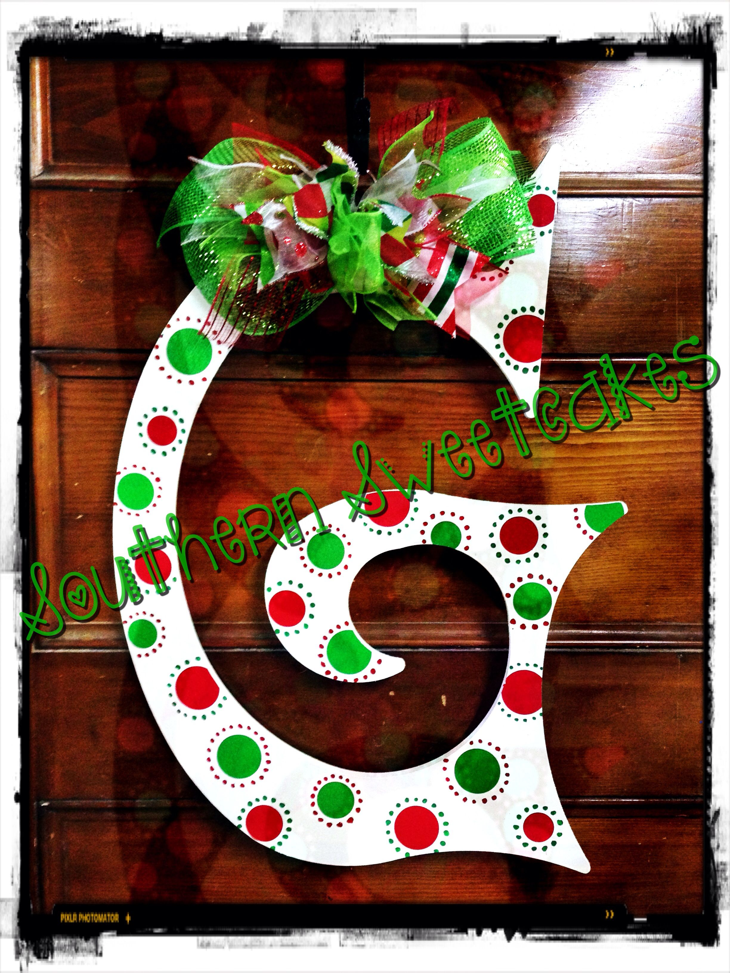 Christmas Initial Christmas Door Hanger Christmas Decorations Christmas Door Decorations