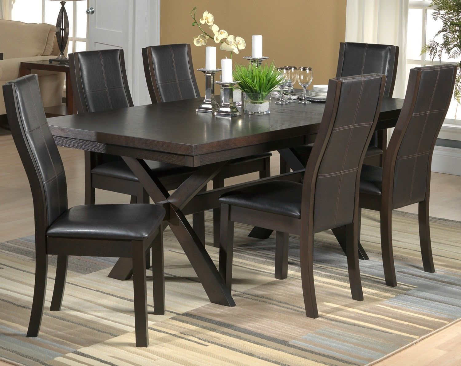 Grethell Dining Room 7 Pc Dining Set Leon S Round Dining Room