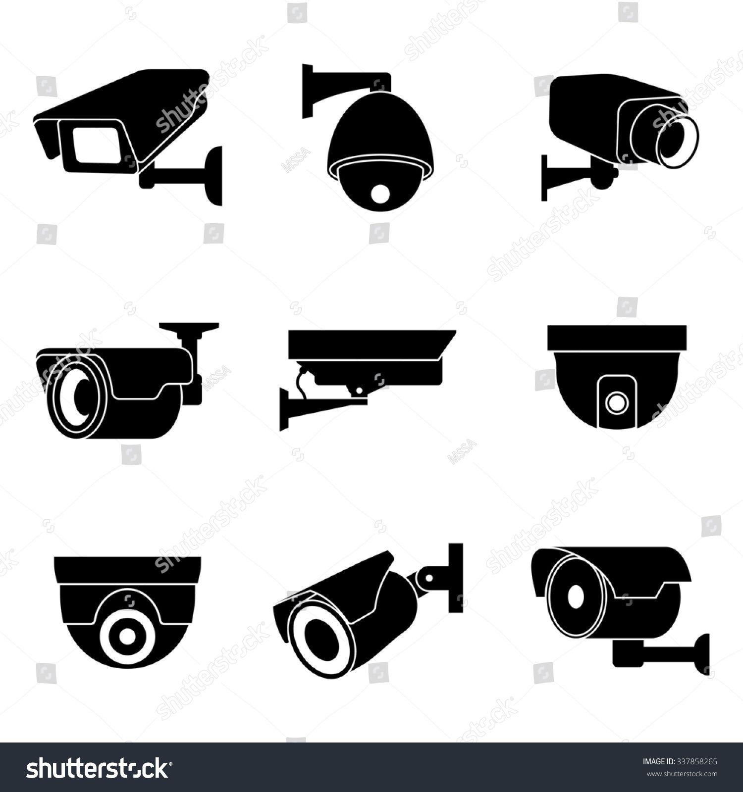 Security surveillance camera, CCTV icons Sponsored , AD