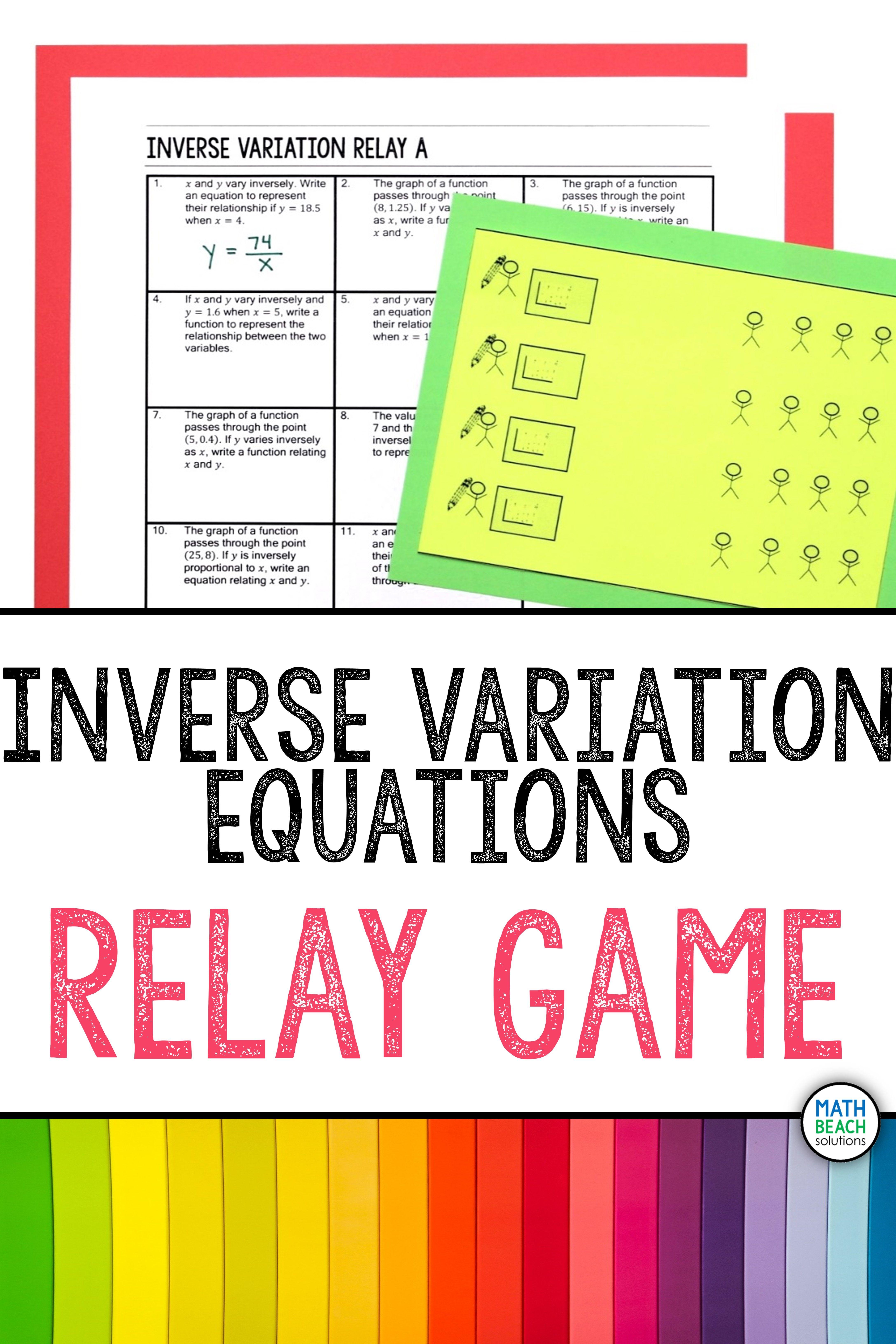 Inverse Variation Relay Activity
