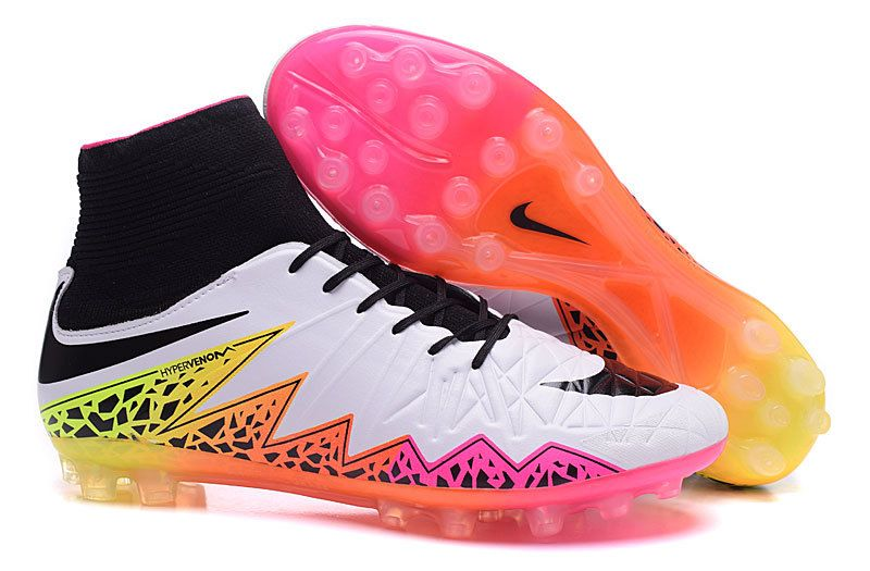 Nike Hypervenom Phantom Ii Ag 2015 Soccer Boots High White Rainbow Black Nike Football Sepatu Sepakbola