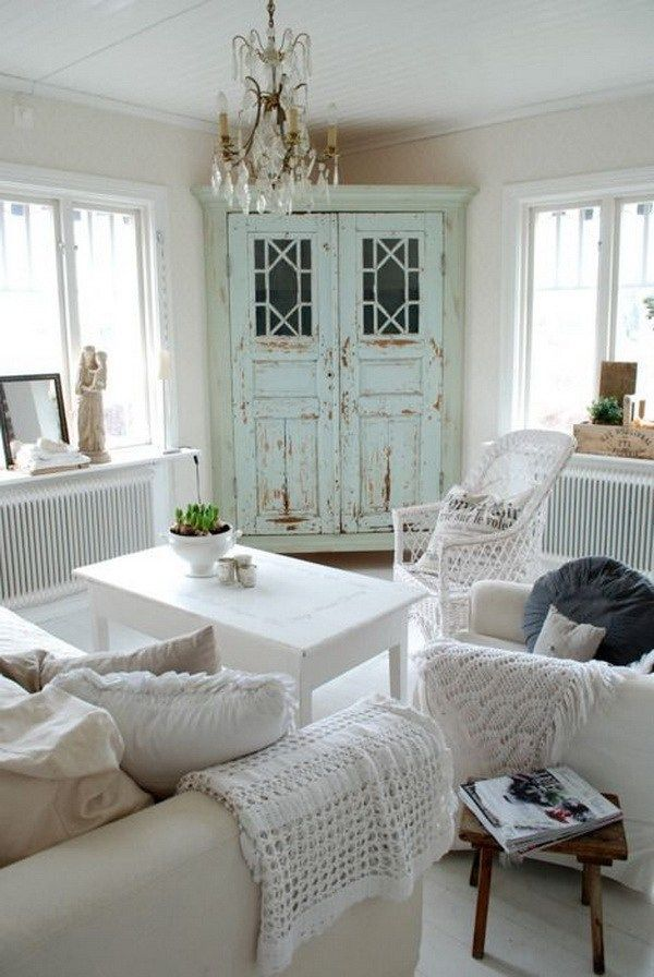 mint distressed cabinet makes an accent in all white shabby chic living room - Distressed Living Room Ideas