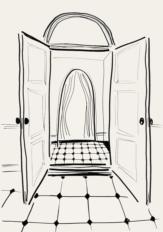 Line Illustration Of Open Door Line Illustration Lineart Line Illustration Whimsical Artwork Line Art