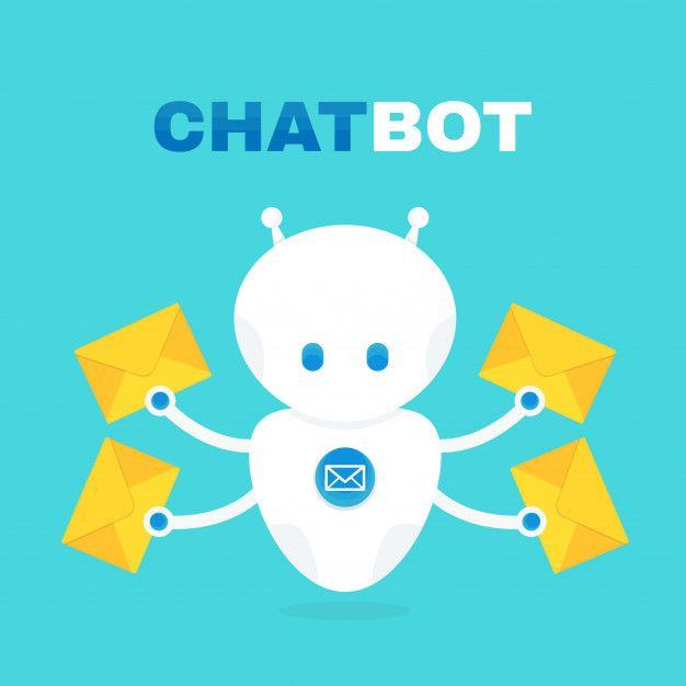 Robô de batepapo bonito robô detém enve  Premium Vector