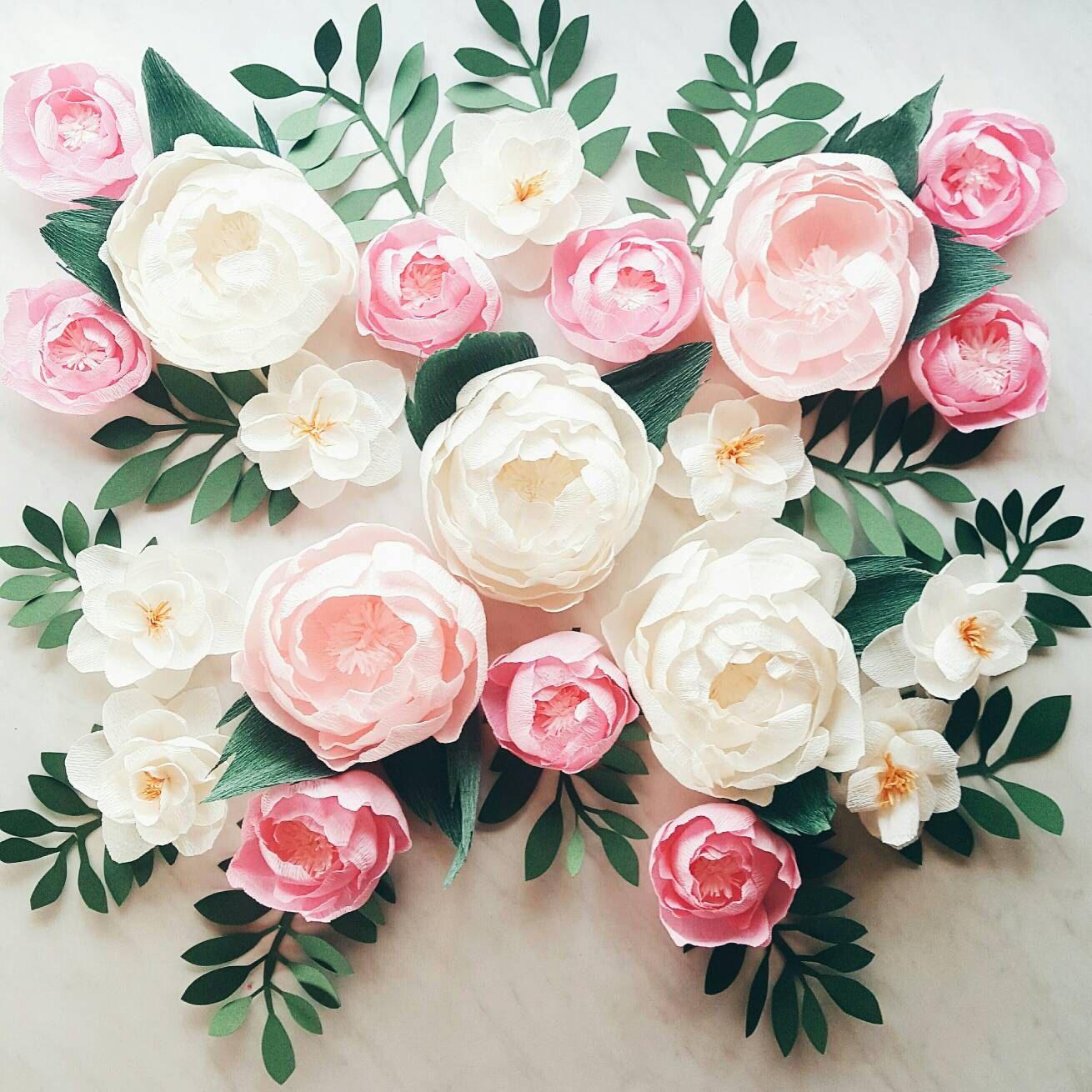 Paper flower wall display. Girl nursery wall decor. Garden