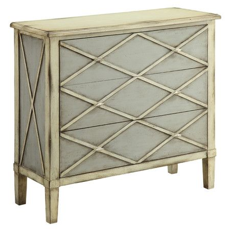 Grey and ivory chest with three drawers.