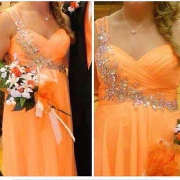 Orange Night Moves Prom Dress Size 12, unaltered. One shouldered. Worn several times and has been dry cleaned. Still in GREAT condition! Has always been stored in a dress bag! Don't like my price? Make me an offer! Any questions? Ask! Night Moves Dresses One Shoulder