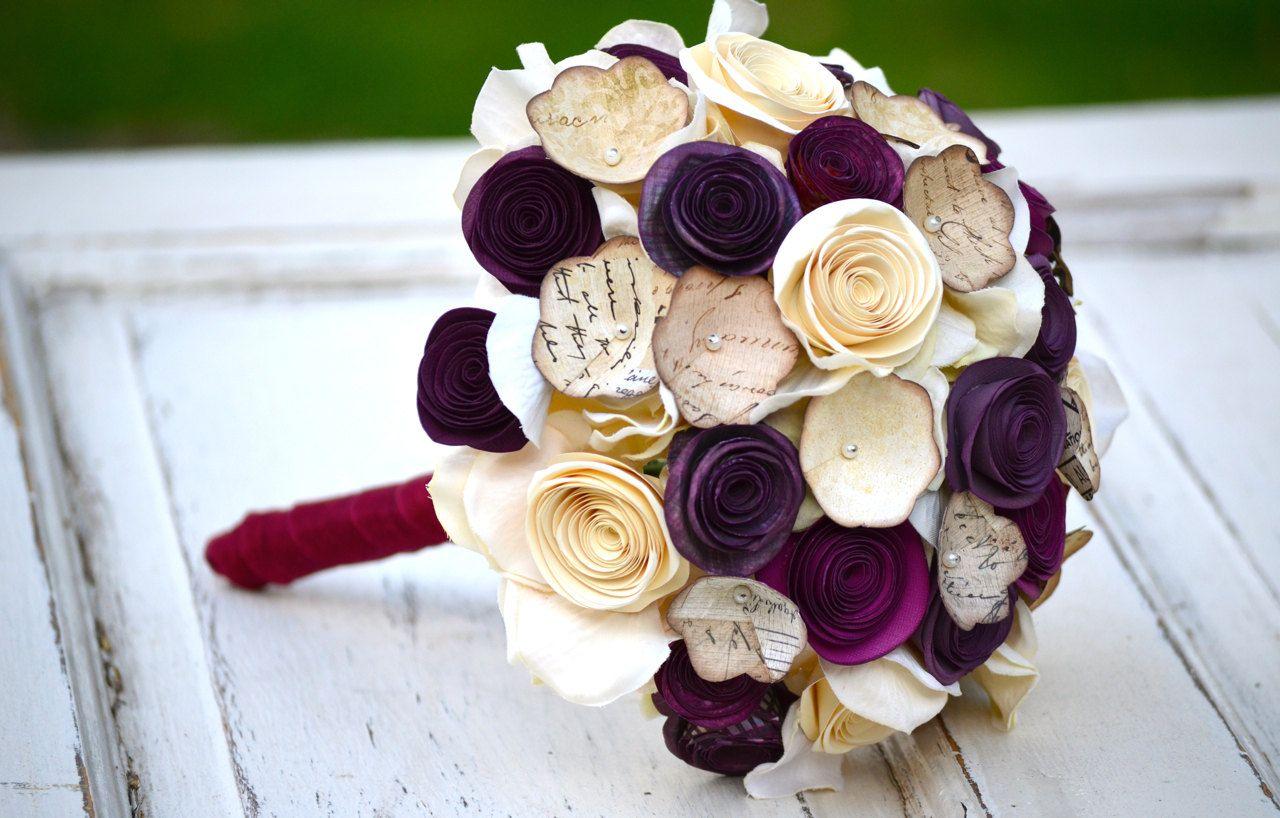 Maroon and cream wedding decor  Paper flower bouquet purple plum ivory cream wedding home