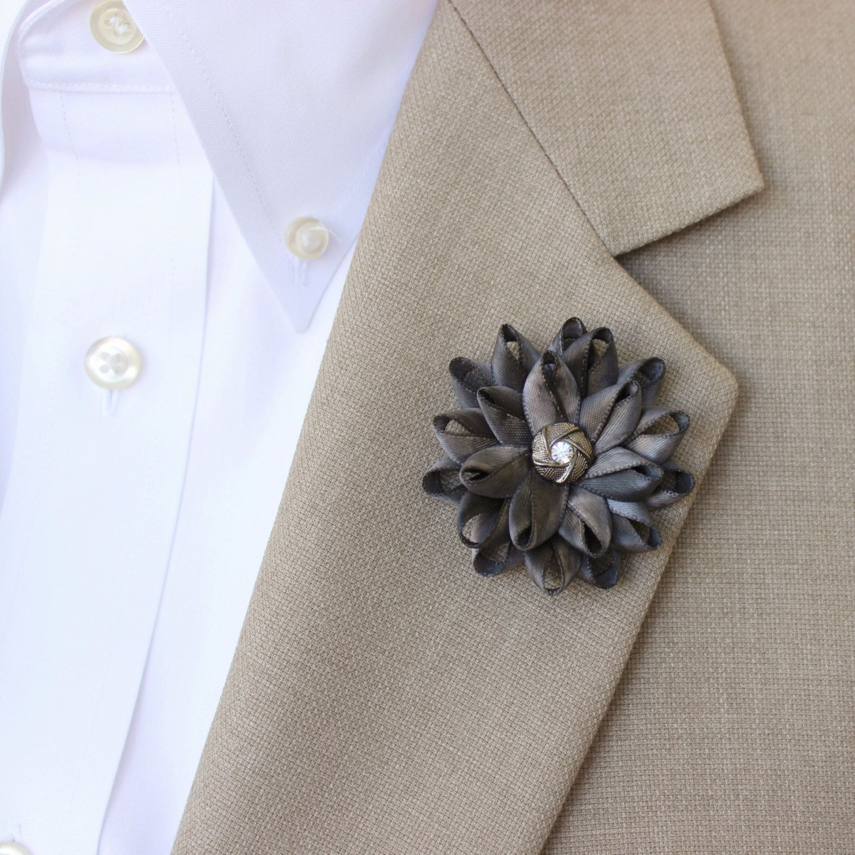 Mens Flower Lapel Pin Gray Lapel Flower for Men Mens Lapel Flower Dark Gray Boutonniere Gifts for Men Men's Lapel Pin Lapel Flower Pin