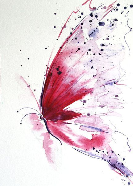 Red butterfly, Butterfly painting, Original from Radikacolours by  -