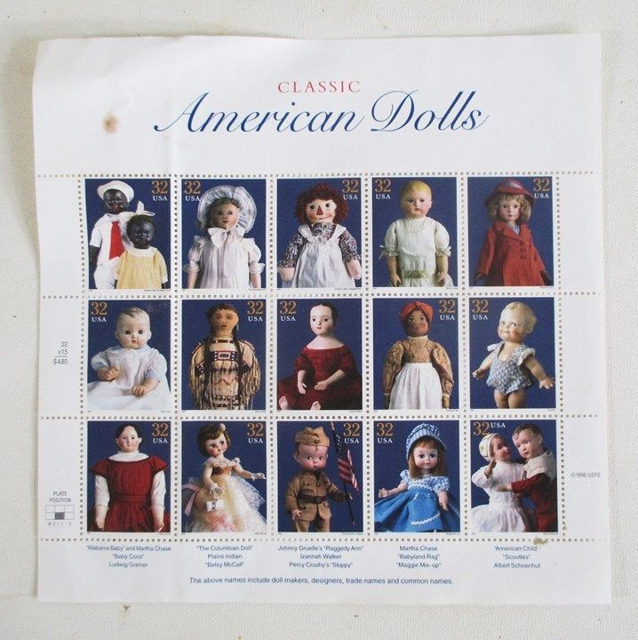 Classic American Doll Stamps, 1996, Vintage Sheet of 15: Betsy McCall, Raggedy Ann, 'Skippy' 'Scooties' Philatelic Collecting #americandolls