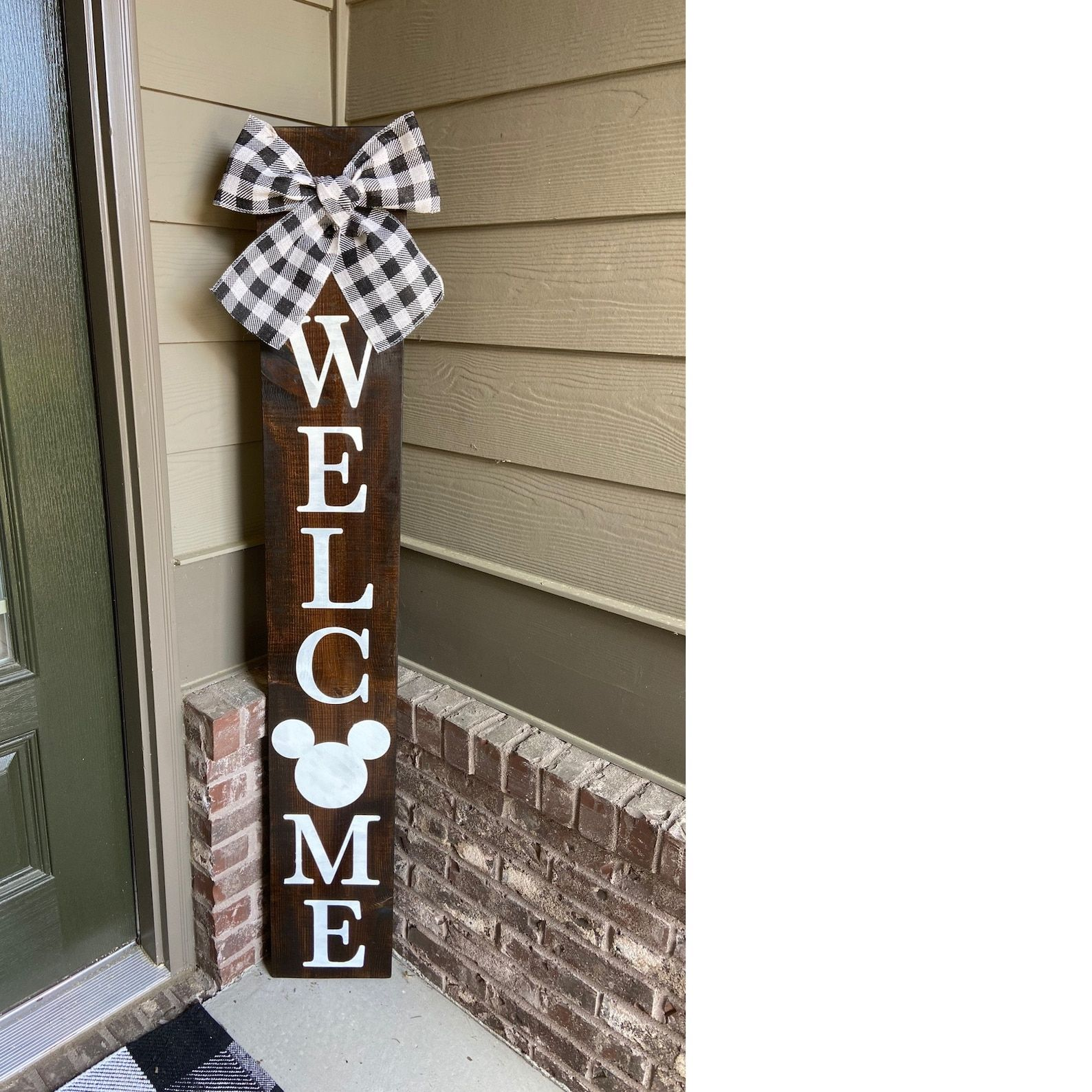 5FT Mickey Welcome Sign Disney Sign Black and White Bow | Etsy
