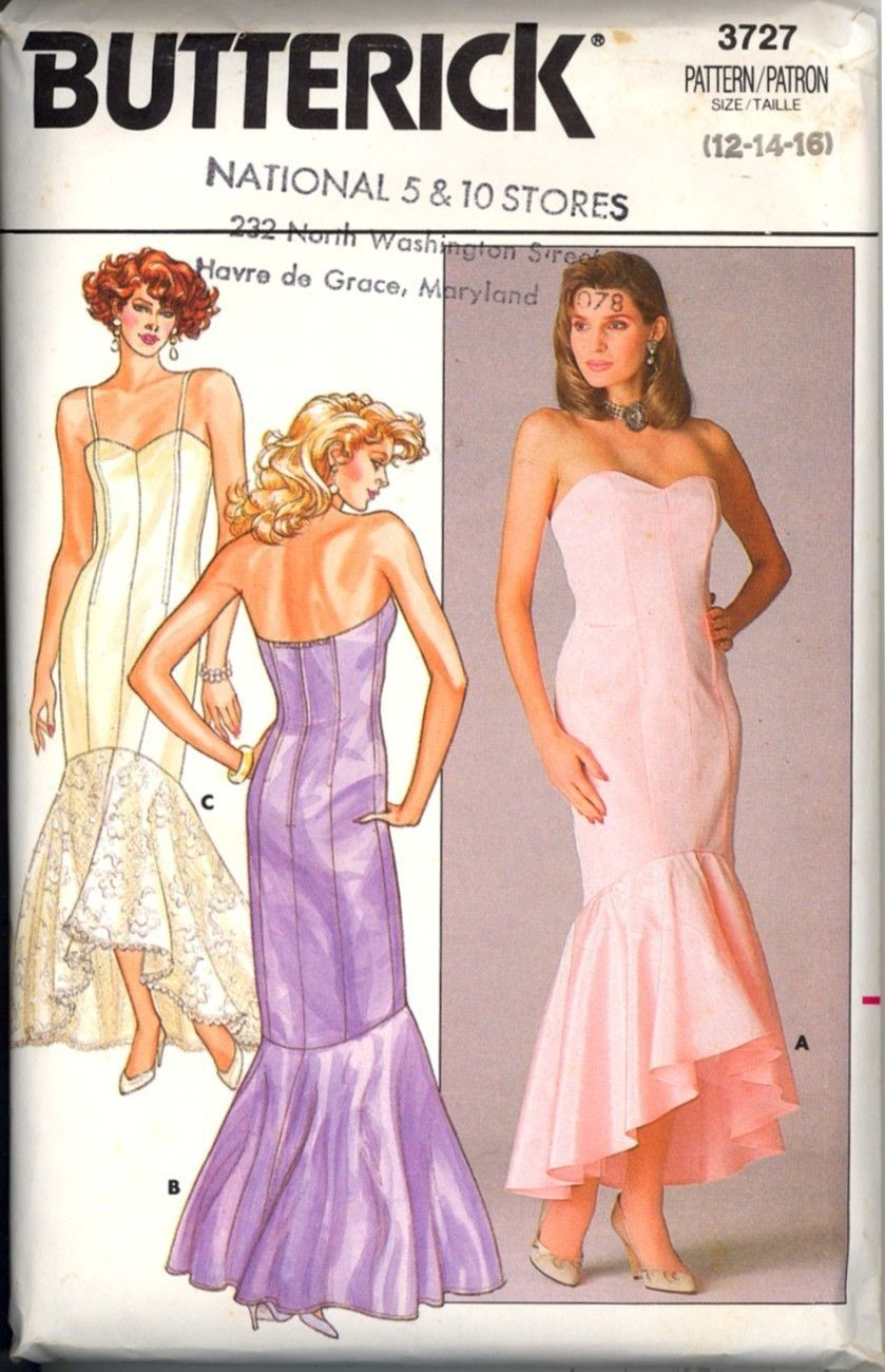 80s Fishtail Hem Evening Gown Pattern Size 12 14 16 New | Dress ...