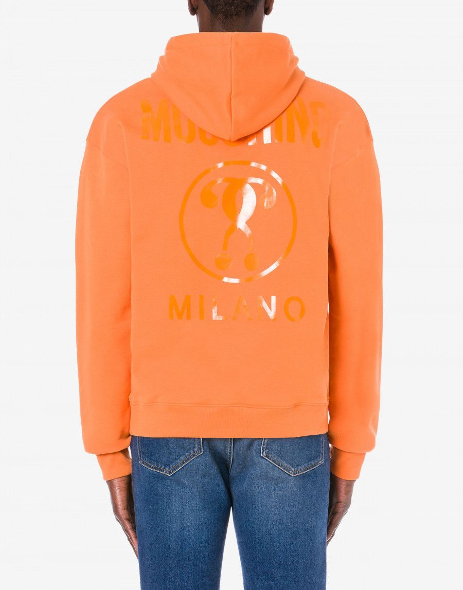 Moschino Hoodie Double Question Mark Cotton Hoodie With Matching Double Question Mark Logo Print Click Photo To Shop Mosch Hoodies Hoodies Shop Mens Outfits [ 1148 x 900 Pixel ]