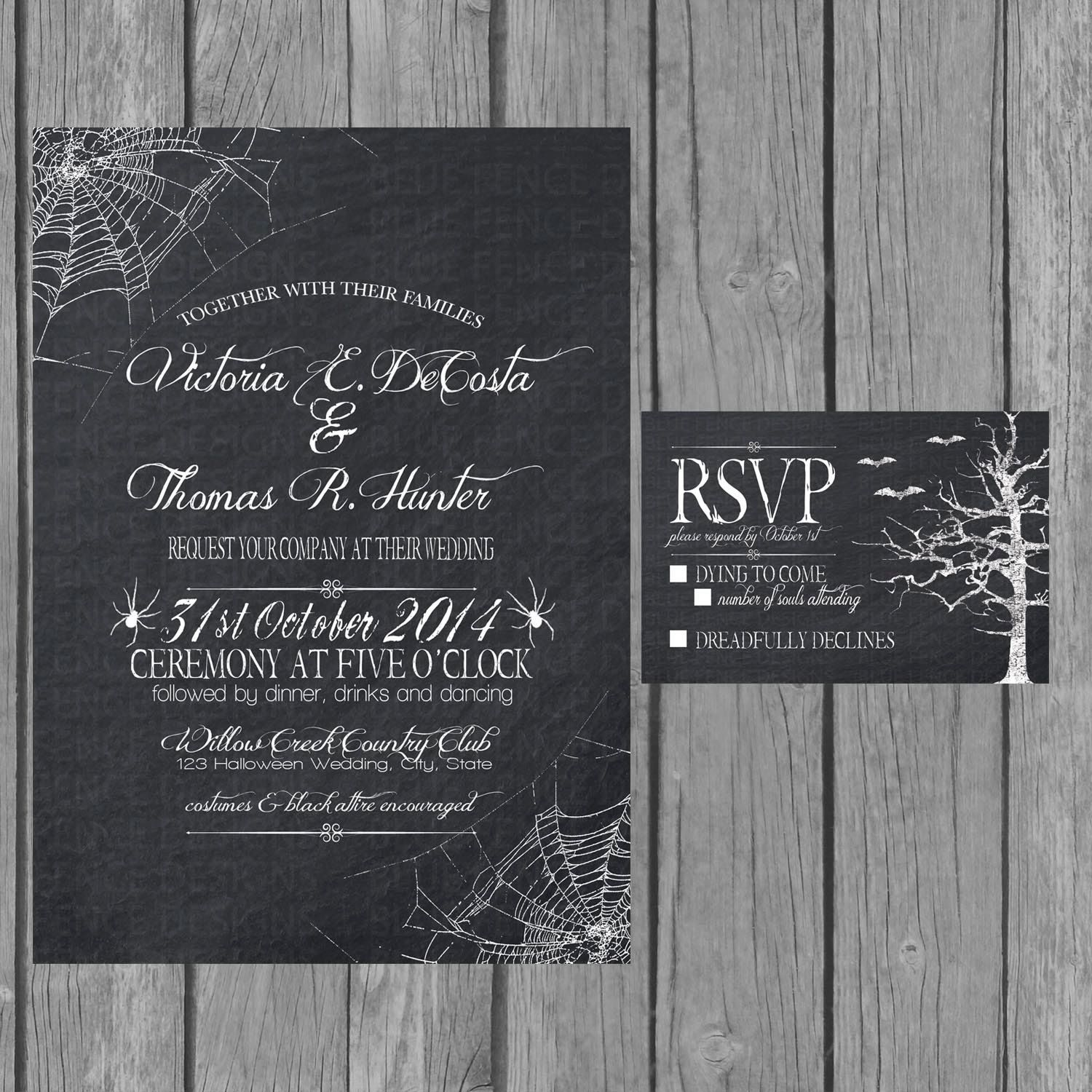 Halloween wedding invitation chalkboard engagement party invite