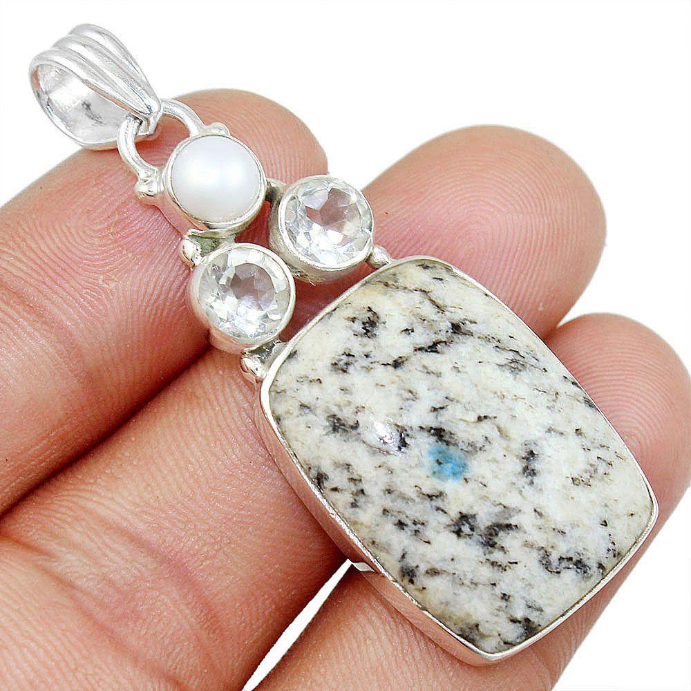 K2 Blue(Azurite In Quartz) 925 Sterling Silver Pendant Allison Co Jewelry P-7387 #Allisonsilverco