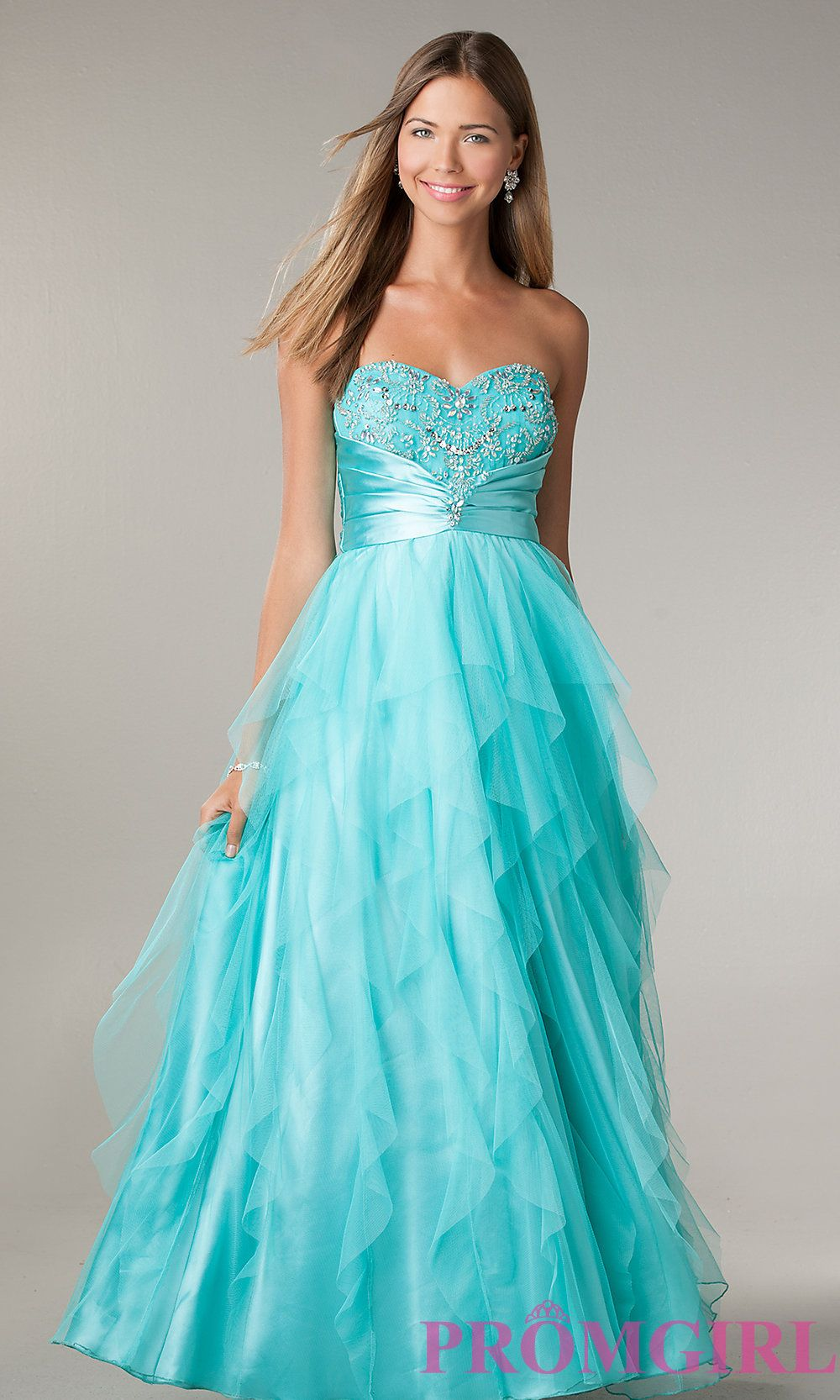 Long Ruffle Prom Dresses, LA Glo Strapless Prom Gowns- PromGirl ...