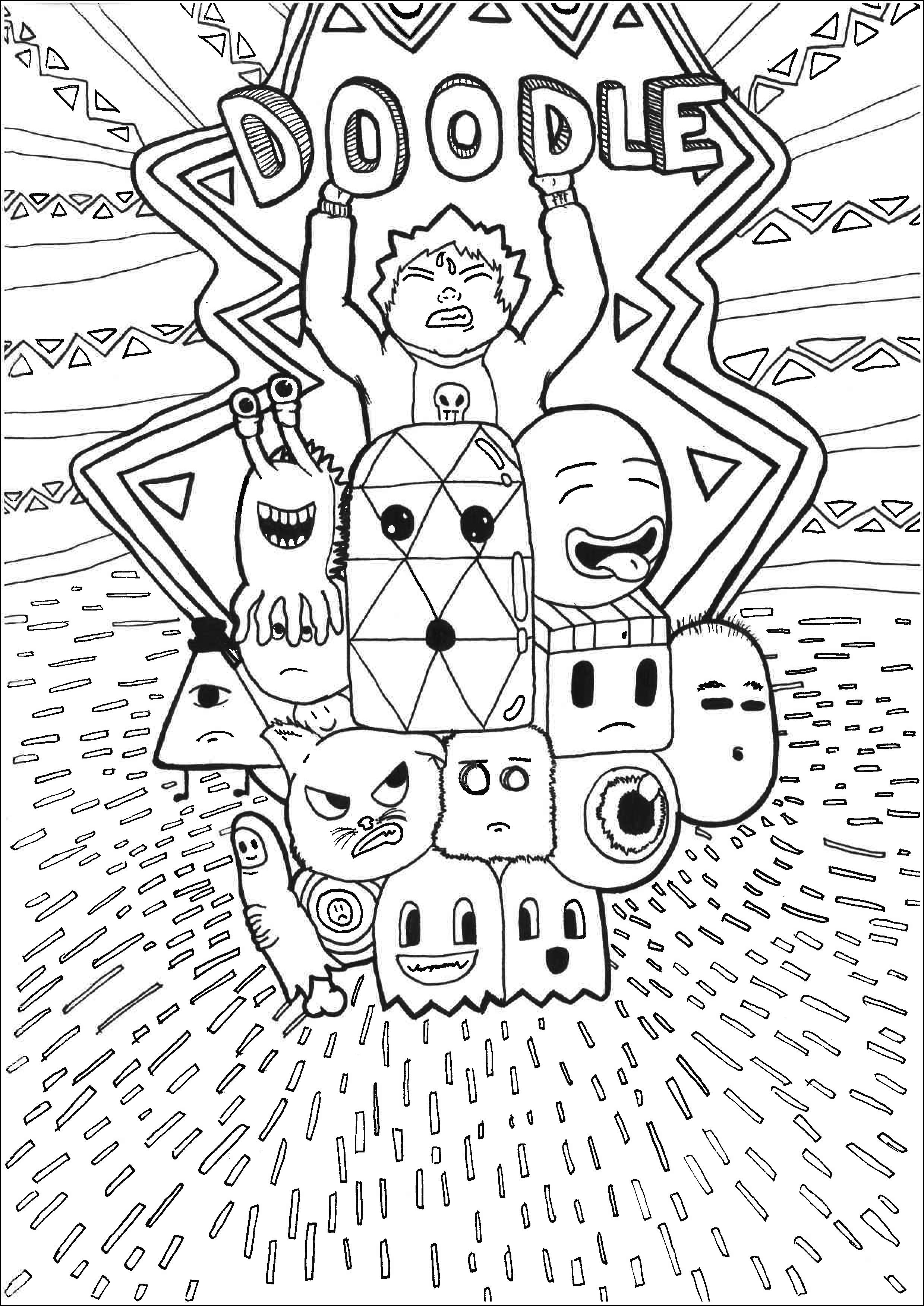 Coloring Page Adult Doodle Lot Of Characteres By Allan 2479