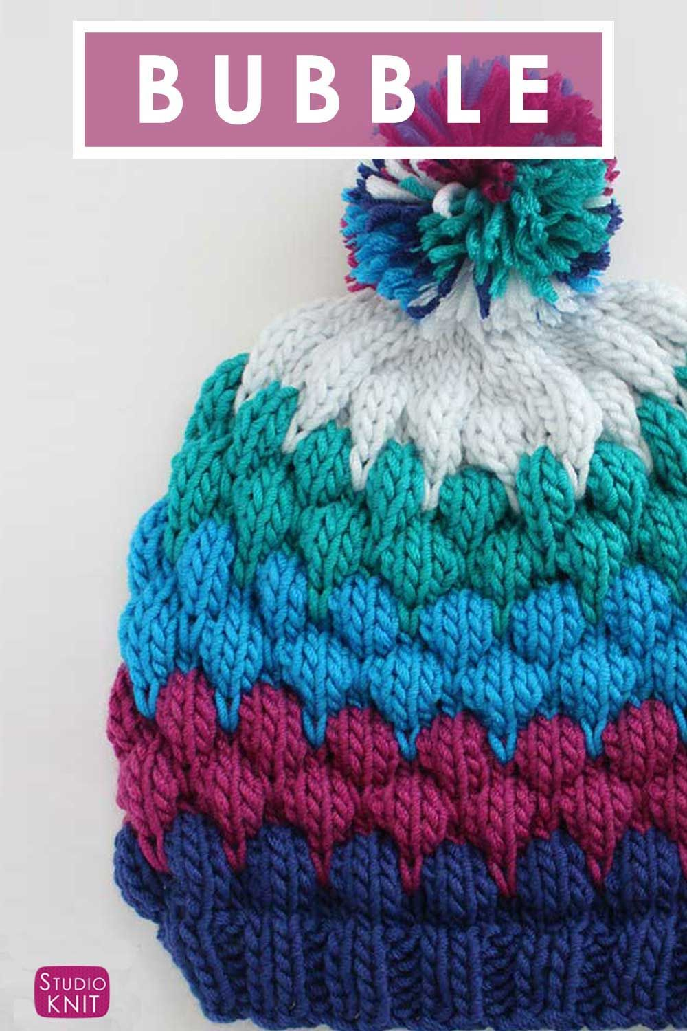 New popular Bubble Stitch Beanie Hat with free Knitting Pattern and video  tutorial by Studio Knit.  knithat  StudioKnit  bubblebeanie  bubblehat   ... 43a45e20b16