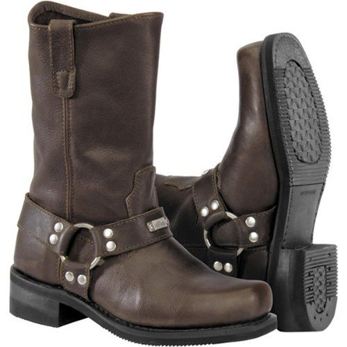 cd889d73ab0d River Road Traditional Square Toe Harness Men s Leather Harley Cruiser  Motorcycle Boots - Brown   Size 11