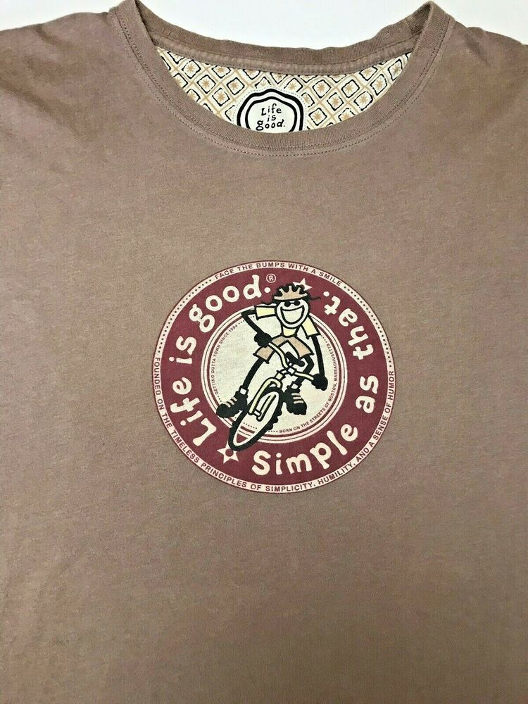 Men's XXL T Shirt Life Is Good Simple As That Brown Cycling