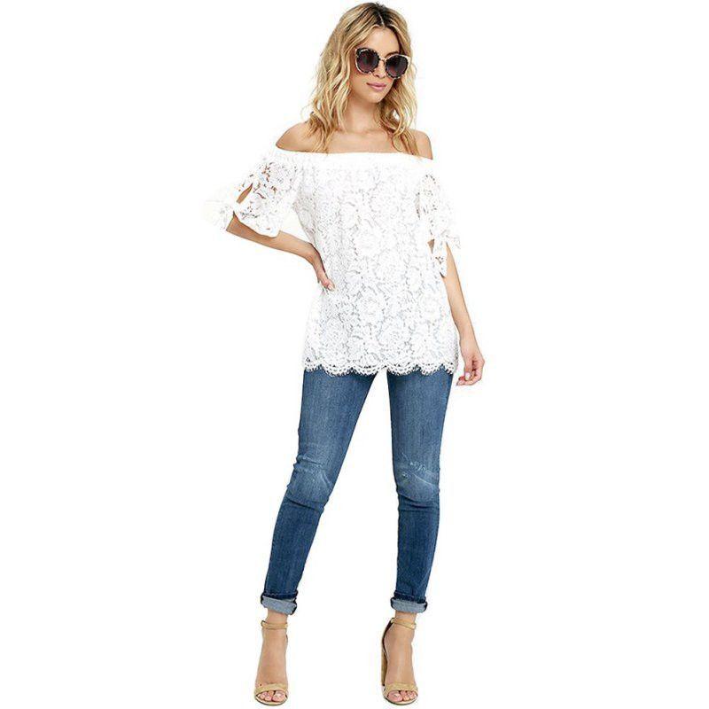 Summer Fashion Sexy Women Shirt Tops White Lace T Shirt Slash Neck Vintage Tassels Tops