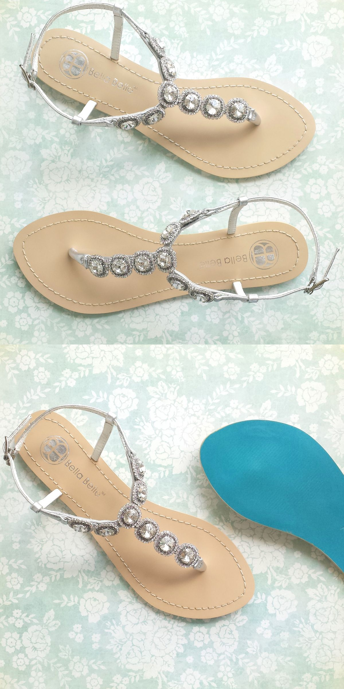 d85e51a0ad56  Something Blue  sandals with classic vintage-style Halo crystals from Bella  Belle.