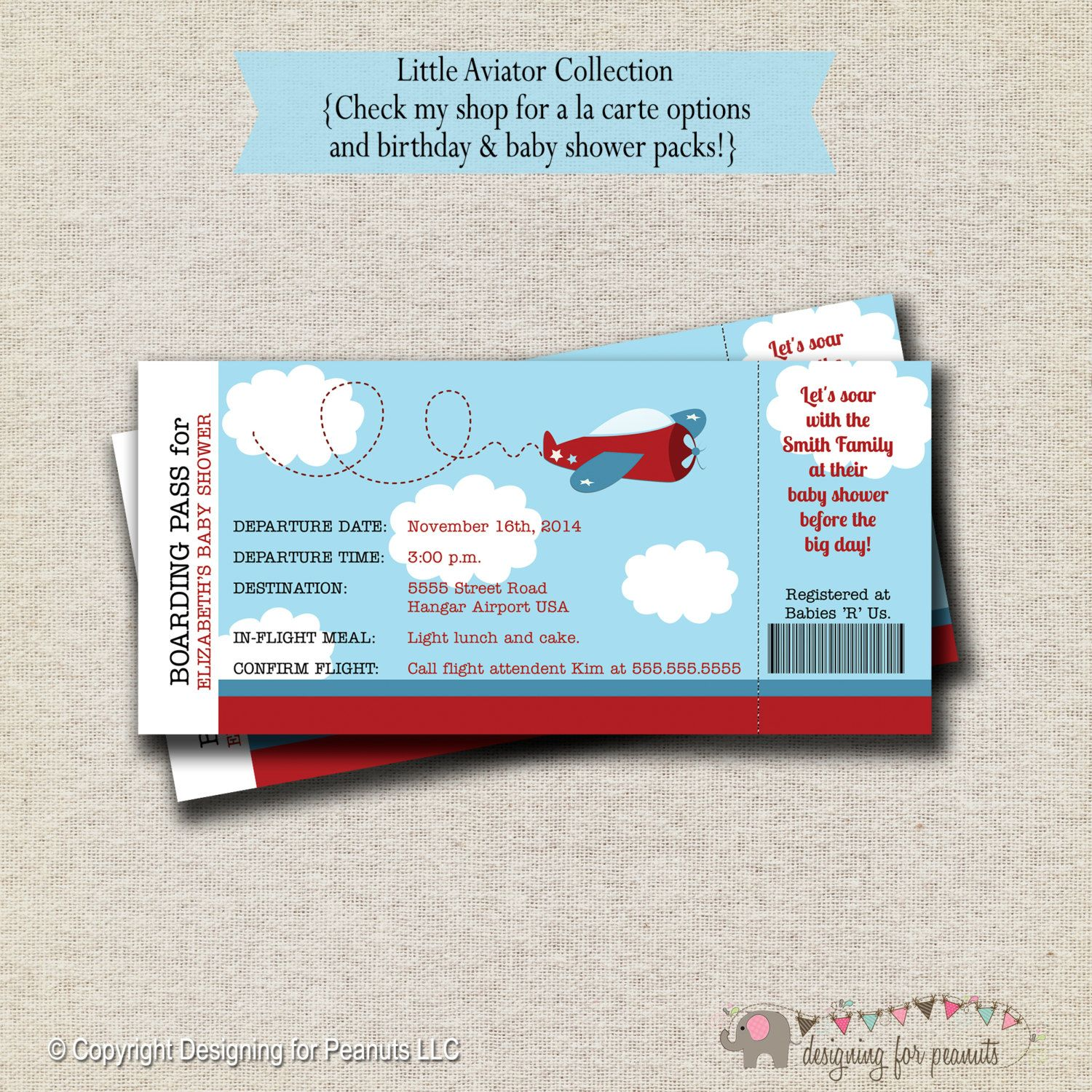 Airplane Baby Shower Ticket Invitation by designingforpeanuts ...