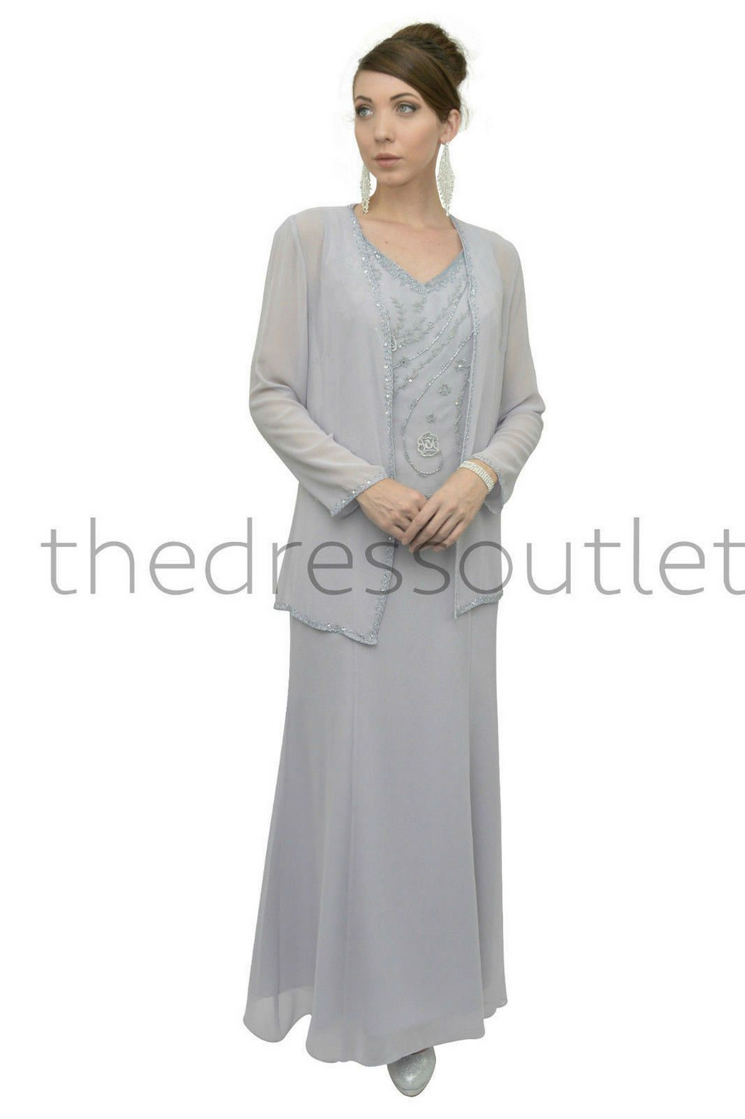 This Beautiful Full Length Gown Comes With An Embroidered Beaded Top