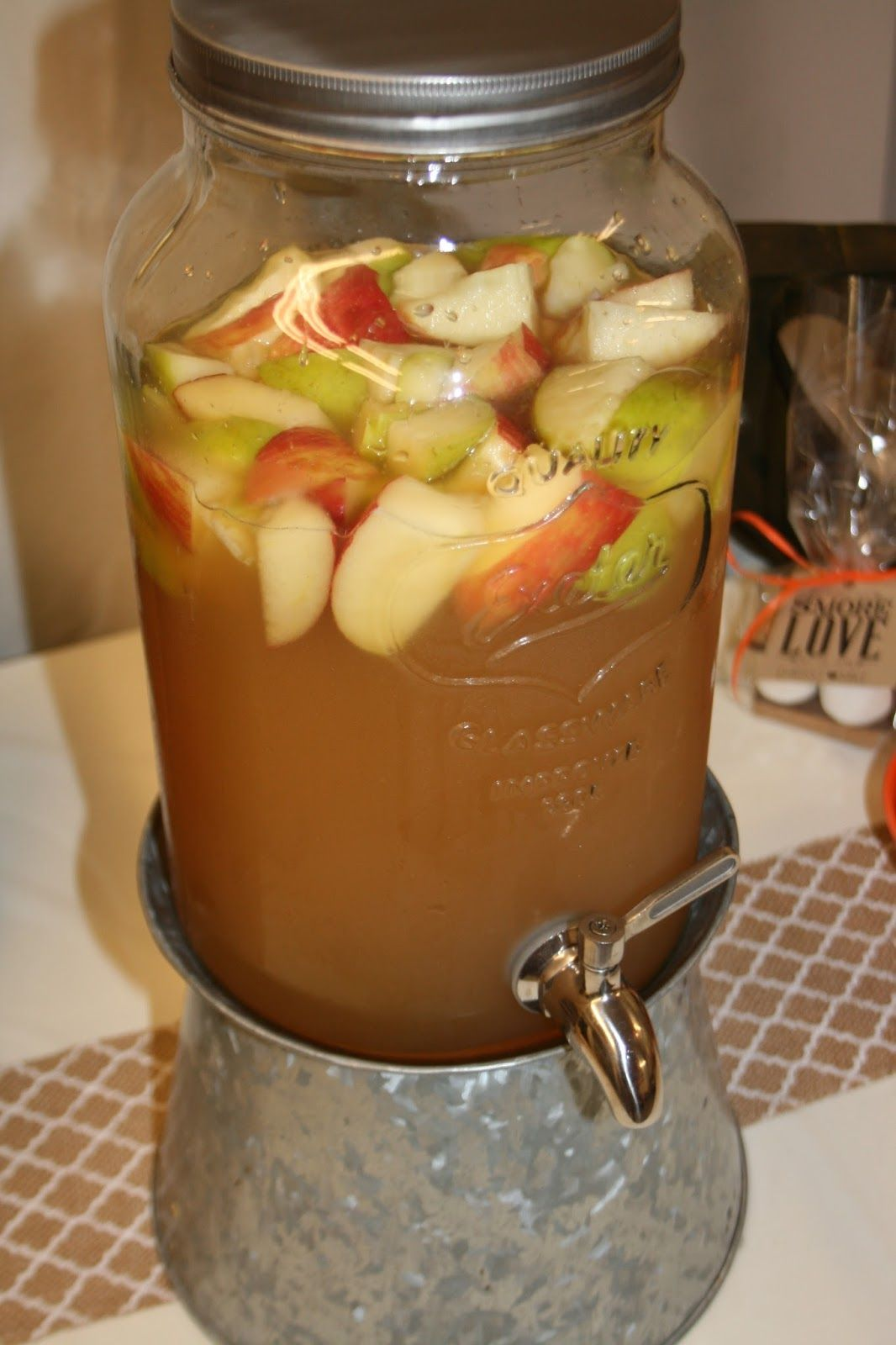 SIMPLE FOUND TREASURES: Falling in Love Engagement Party // Carmel Apple Sangria #engagementparty
