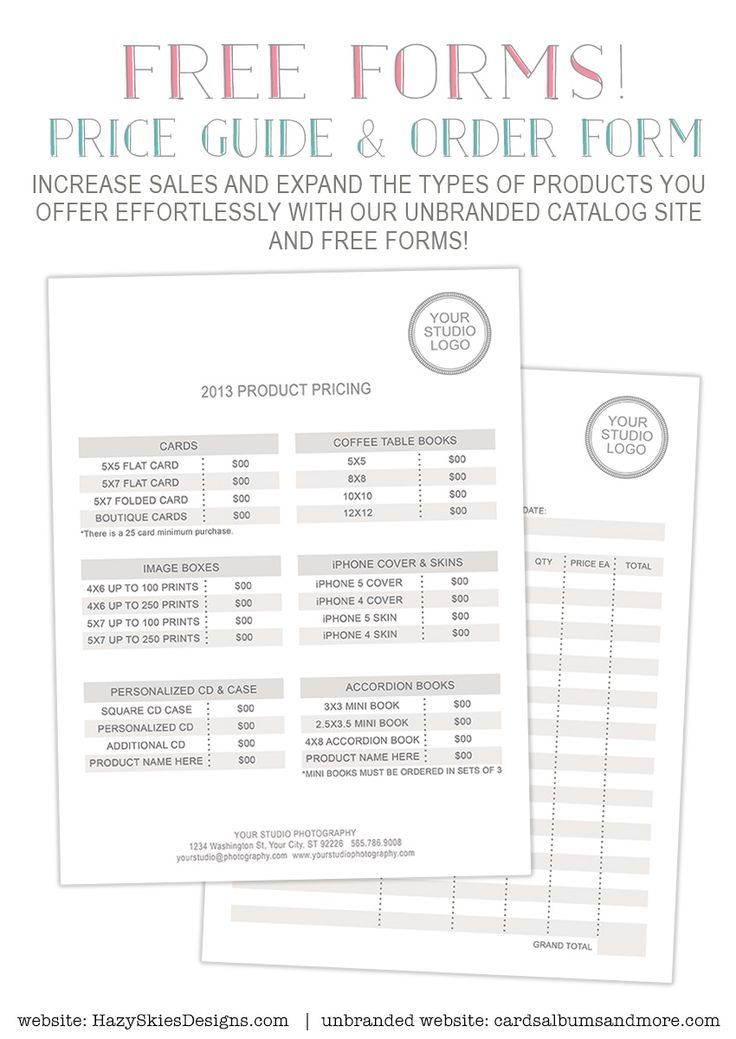 FREE Photography Forms - Pricing Guide and Order Form \u2026 photog