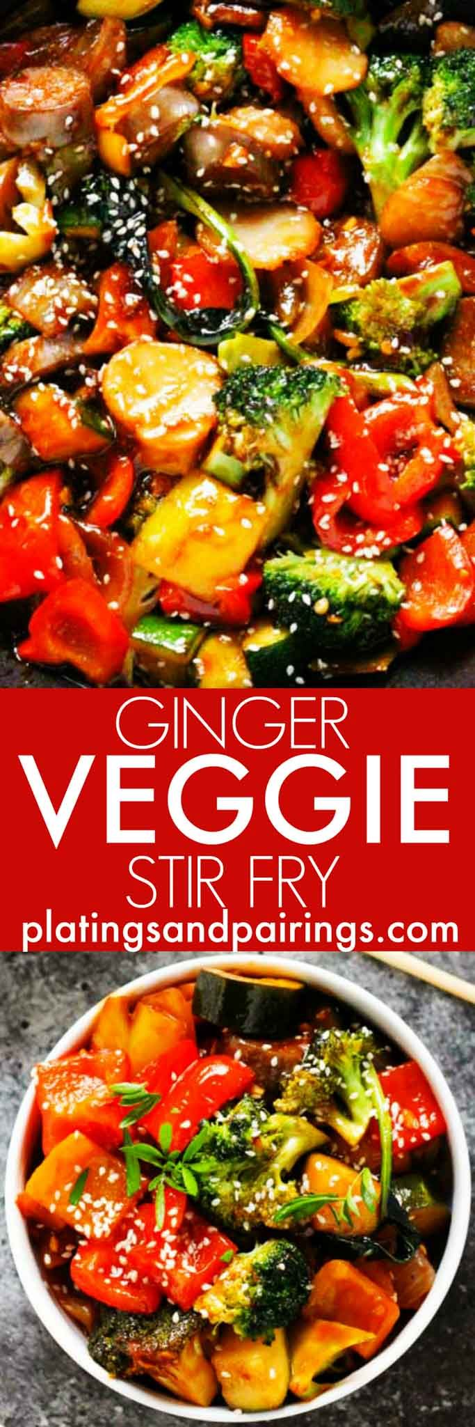 This Ginger Veggie Stir Fry is bursting with lots of fresh vegetables and coated with a spicy sauce flavored with garlic and ginger. Plus, it comes together in under 30 minutes!   platingsandpairings.com #vegetablestirfry