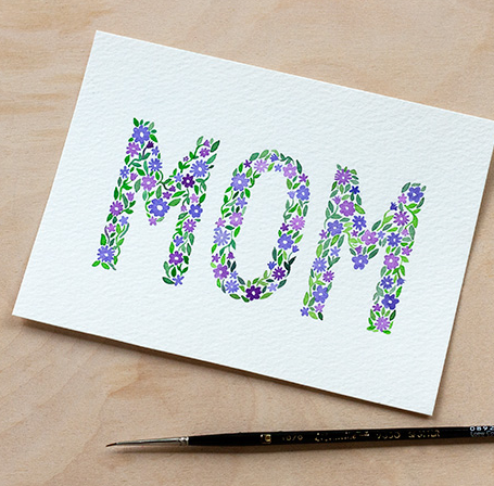 DIY Watercolor Mother's Day Card with Printable from