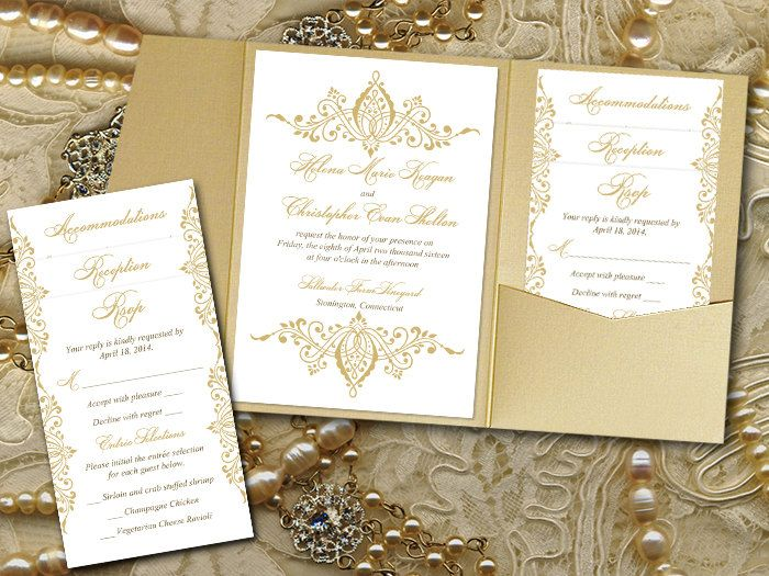 Gold Wedding Pocketfold Invitation Template  Gold Invitation
