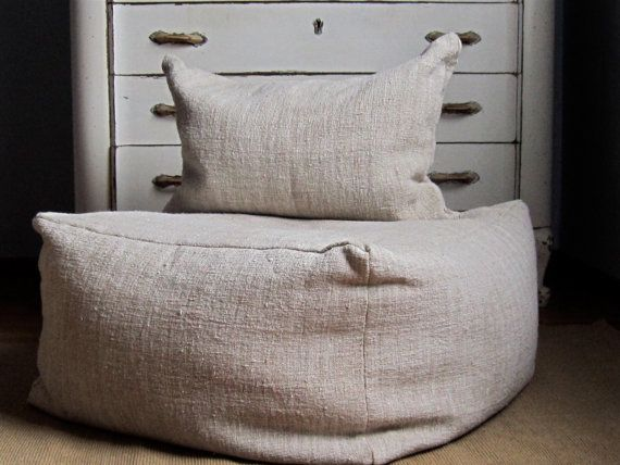 Large Pouf Ottoman Captivating Large Square Pouf Ottoman 26X26X15 Large Pouf Vintage Grain Sack Inspiration