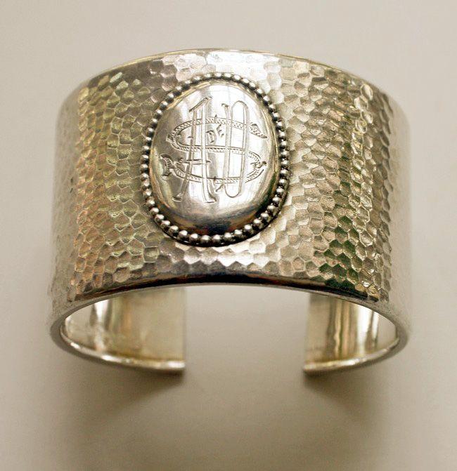 Karen Lindner Designs Continental Silver Deco Monogrammed Cuff Bracelet.FrenchGardenHouse.com