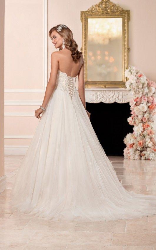 6357 A Line Wedding Dress With Princess Cut Neckline By Stella York