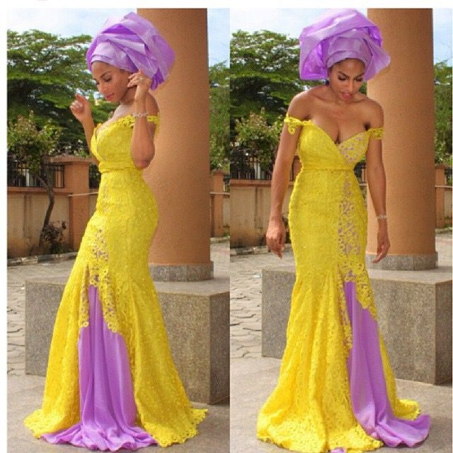 Nigerian wedding yellow and lilac purple ore-iyawo aso-ebi color combination