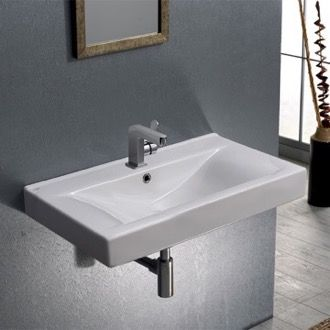 Small Rectangular Ceramic Wall Mounted Or Drop In Bathroom Sink In