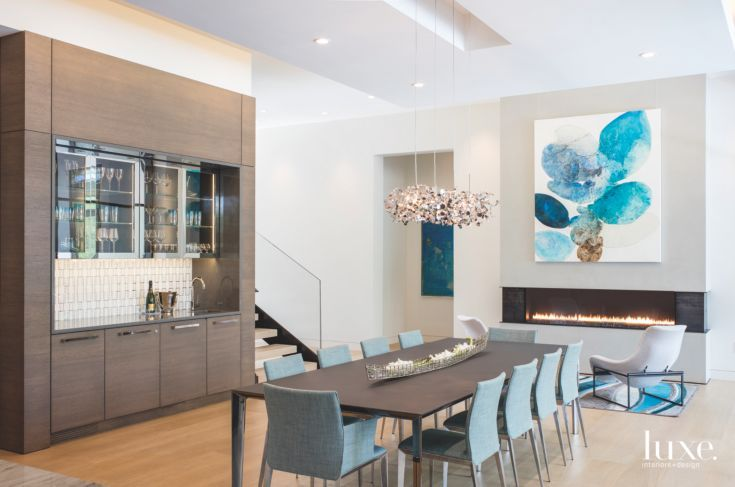 Dining Rooms Modern LUXE Chandelier Fireplace Parrish Co