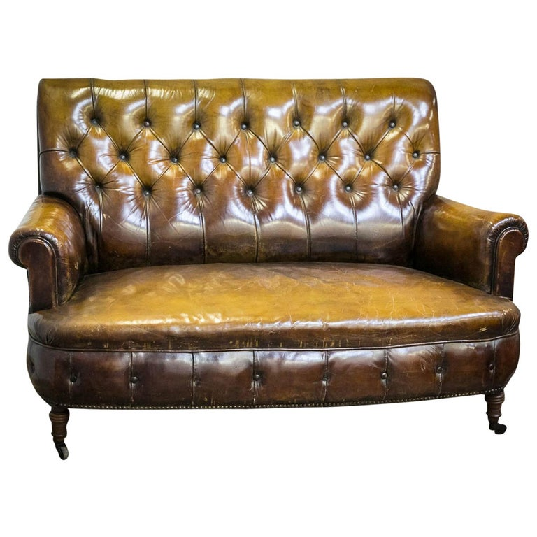Late 19th Century Two Seat Leather Chesterfield Sofa Real