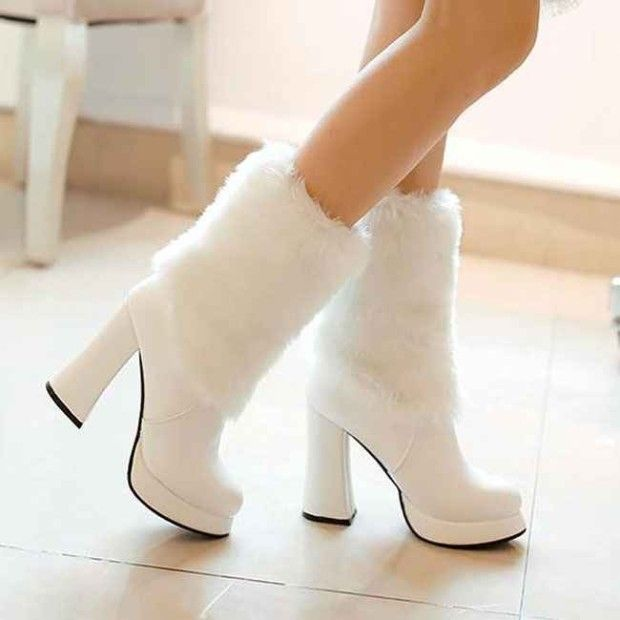 Bridal White Boots With Fur