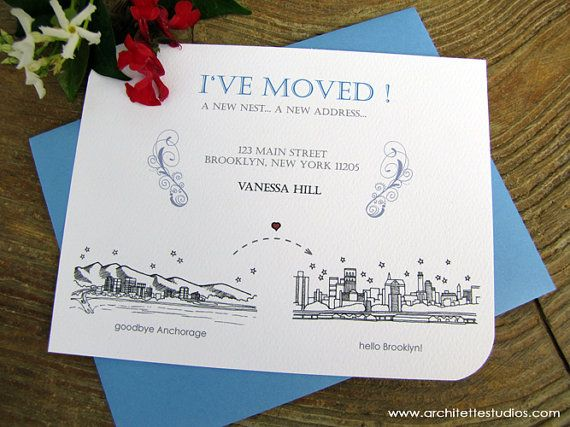 Moving Announcement Cards 100 City Skyline by ArchitetteStudios