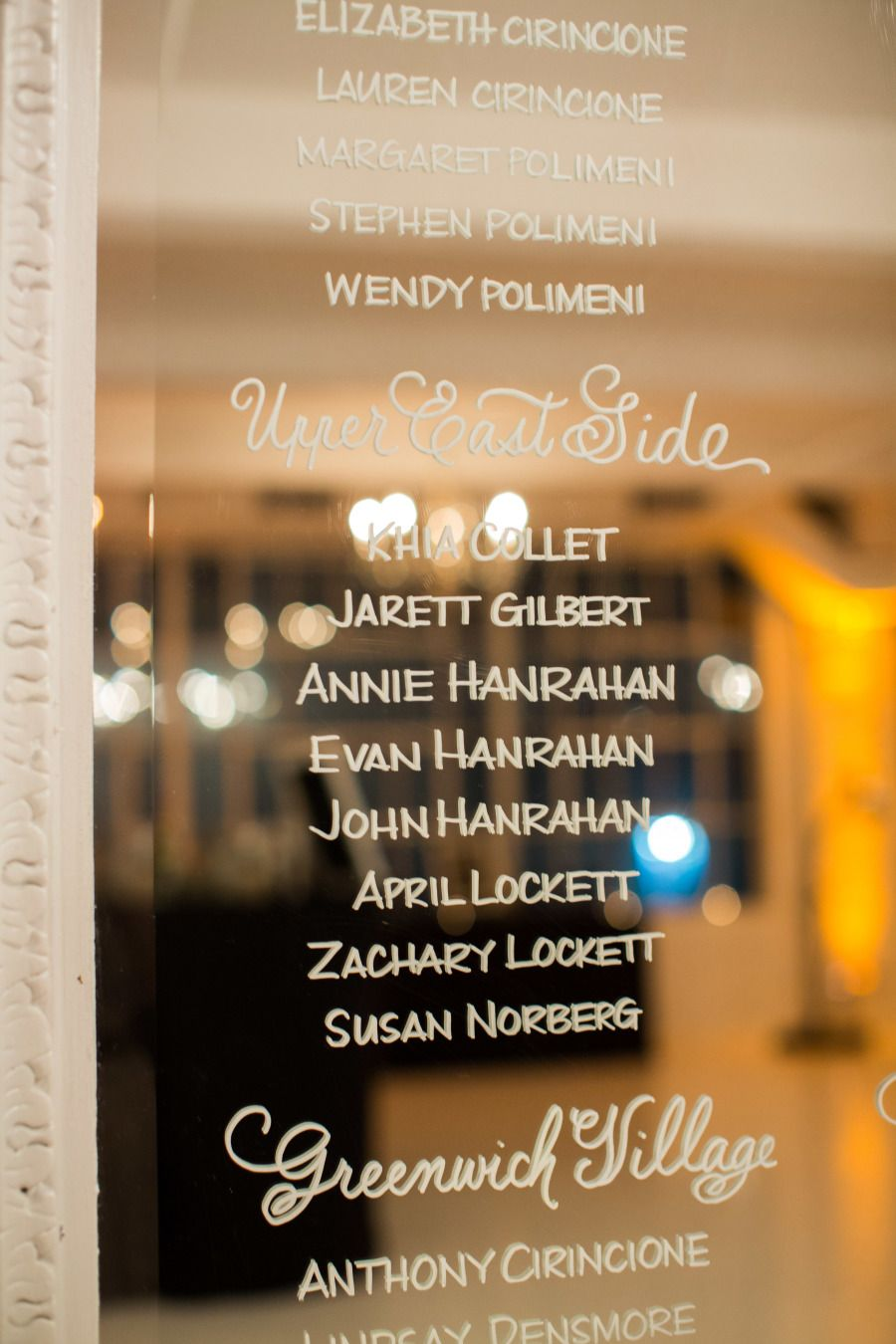 Write your guests names on glass- place in a frame- gorgeous seating chart.